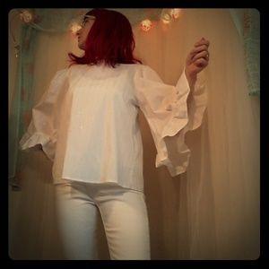 White bell Sleeve Fall Blouse. Metallic pinstripes